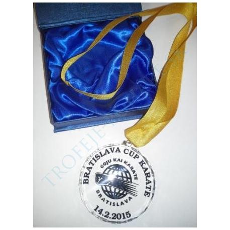 Sklenná medaila s potlačou